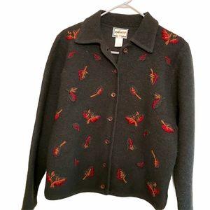 Pendleton wool cardigan sweater leaves medium